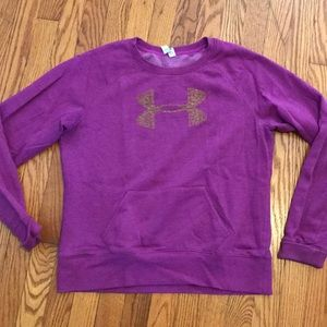 UA crew sweatshirt purple with yellow/gold logo